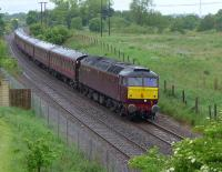 West Coast 47832 nears Rosyth with a Thornton Yard - Bo'ness empty stock working from the previous day's Liverpool excursion. 47854 is on the rear.<br><br>[Bill Roberton&nbsp;12/06/2016]