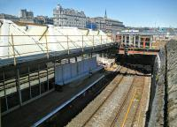 The east end of Platform 1 and the Down loop. Work in association with redevelopment of the area means that the approach to Dock Street tunnel is slightly less gloomy than hitherto. There was once a signal box in the murk beyond the platforms. [See image 32027]<br><br>[David Panton&nbsp;31/05/2016]