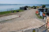 View of Craigendoran Pier, base of operations for the laying of a new sewer.<br><br>[Ewan Crawford&nbsp;06/06/2016]