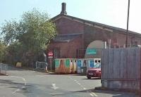 As well as the engine shed [see image 36367] the Ross-on-Wye goods shed also survives next to the recycling centre. The trackbed west of here is now occupied by a Morrisons supermarket. The station site itself is an industrial estate - but a replica of the station building was built by the Severn Valley Railway at Kidderminster. [Ref query 21633]<br><br>[John Thorn&nbsp;29/05/2016]