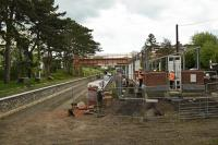 The rebuilding of Broadway Station, looking north. The track is currently a mile away. The signalbox is complete as is one platform.<br><br>[Peter Todd&nbsp;23/05/2016]