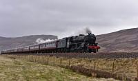 A heavy shower greets 44871 as it approaches Dalwhinnie from the north with The Great Britain IX , 47760 at rear.<br><br>[John Gray&nbsp;03/05/2016]