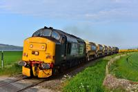 37688 <i>Kingmoor TMD</i> and 37607 are running late as they approach the site of the closed station at Clunes with five autoballasters for Fodderty.<br><br>[John Gray&nbsp;06/06/2016]