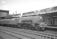 Stanier Coronation Pacific 46235 <I>City of Birmingham</I> arrives at Carlisle from Glassgow Central on 13 July 1963 with a summer Saturday train for Blackpool.<br><br>[K A Gray&nbsp;13/07/1963]