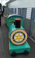 The Rotary Club of Alloa barrel-train on the platform at Alloa station.<br><br>[John Yellowlees&nbsp;13/06/2016]