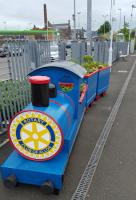 One of the two new Rotary Club of Alloa barrell trains at Alloa station.<br><br>[John Yellowlees&nbsp;13/06/2016]