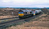 EWS 66102 southbound with aluminium slabs and empties from the Lochaber Smelter in 2007.<br><br>[Ewan Crawford&nbsp;11/04/2007]