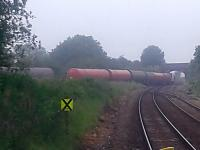 Changing of the tankers at Petroineous Depot, Dalston Cumbria.<br> Loaded tankers being stabled prior to moving the empties. Misty morning 14th June 2016.<br><br>[Brian Smith&nbsp;14/06/2016]