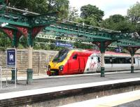 A Virgin CrossCountry Voyager en route to Aberdeen stands at Waverley platform 19 on 5 July 2007. Note the dismantled and repainted platform canopy in course of refurbishment as part of the major station works taking place at this time. <br><br>[John Furnevel&nbsp;05/07/2007]