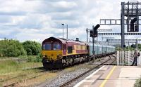 66136 arriving at Didcot with a covered car train on 16 June 2016. The train ran into the sidings prior to heading north.<br><br>[Peter Todd 16/06/2016]