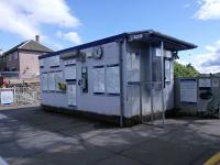 The ageing prefab ticket office at Blairhill seen on 25/06/2016. Is a new building at platform level part of the ongoing station improvements? I could have just asked at the ticket window but I like a surprise.<br><br>[David Panton&nbsp;25/06/2016]