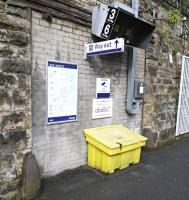 Bricked-up section of wall on the city bound platform at High Street station in June 2016, thought to be a defunct passenger access point.  [Ref query 10254]<br><br>[David Panton&nbsp;25/06/2016]