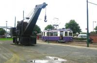 Looking back towards the entrance to Summerlee Industrial Heritage Museum in the summer of 2006. A Marshall - Fleming steam crane stands alongside ex-Graz Tramways no 225, in use at that time on the museum's internal passenger service.  <br><br>[John Furnevel&nbsp;29/08/2006]