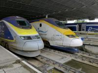 Eurostars 3008 and 3108 await departure to Brussels and Paris, at St Pancras on 23 June.<br><br>[Bill Roberton&nbsp;23/06/2016]