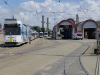 The Kusttram is a metre gauge tramway running along almost the entire Belgian coast, some 42 miles.<br> <br> The depot at Ostend.<br><br>[Bill Roberton&nbsp;26/06/2016]