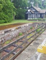 Track has been re-laid in the dock platform at Dunrobin Castle. Fencing makes this a difficult shot from the train.<br><br>[John Yellowlees&nbsp;03/07/2016]