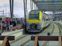 Siemens Desiro EMU 08554 at Ostend with fill up with hundreds of scouts with the 15.08 to Antwerp.<br><br>[Bill Roberton&nbsp;26/06/2016]