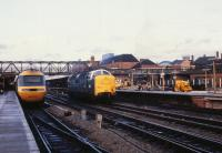 Deltic 55003 'Meld' southbound light engine through Doncaster Station on 29 December 1979.<br><br>[Peter Todd&nbsp;29/12/1979]