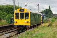 Inspection coach 'Caroline' (number 975025) is propelled northwards at Leyland by DRS 37419 on 12 July 2016.<br><br>[John McIntyre&nbsp;12/07/2016]