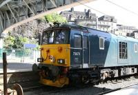 Sleeper locomotive 73970 seems to have struggled to find a bit of shade in the bay at the east end of Waverley on 19 July 2016, the hottest day of the year so far.<br><br>[John Furnevel&nbsp;19/07/2016]