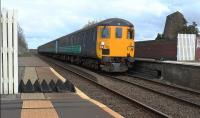 DBSO 9707 leads 37423 into Wigton on 2C34 a Carlisle to Barrow loco hauled service<br><br>[Ken Browne&nbsp;09/04/2016]