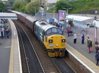 The Scottish 37 Group's 37025 enters Inverkeithing with an excursion<br> from Linlithgow to Inverness, its first outing on the main line with a<br> passenger train since overhaul.<br><br>[Bill Roberton&nbsp;16/07/2016]