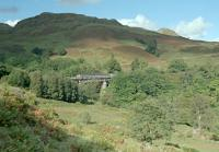 A southbound Sprinter crosses Glen Falloch Viaduct in 1991, viewed from the south. Creag an Duin dominates the background.<br><br>[Ewan Crawford&nbsp;26/09/1991]