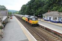 Colas 60087 powers through Pitlochry on 19th July 2016 hauling cement tanks from Oxwellmains to Inverness. <br><br>[Mark Bartlett&nbsp;19/07/2016]