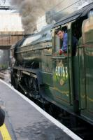 The driver of 60163 Tornado looks back along his train while he waits at Preston on 21 September 2011 for the signal from the guard. <br><br>[John McIntyre&nbsp;21/09/2011]