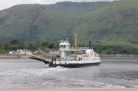 MV <I>Corran</I> crossing the narrows of Loch Linnhe from Nether Lochaber to Ardgour on 23rd July 2016. [See image 55934] for the ferry's predecessor, the <I>Maid of Glencoul</I>, on this crossing. That vessel also had the loading ramps on the corners rather than being a straight drive through. <br><br>[Mark Bartlett&nbsp;23/07/2016]