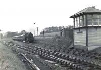 A Stranraer - Glasgow express about to run through Maybole Junction on 17 October 1959, hauled by an unidentified Black 5.