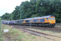 The overnight Up Caledonian Sleeper on 18th/19th July 2016 ran over two hours late after a loco failure at Aviemore. The following morning the Down train arrived at Pitlochry behind rescue loco GBRf 66737 <I>Lesia,</I> which was returning to Inverness, and 73969, both with engines running.