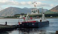 MV Maid of Glencoul, operating the Corran Ferry route from Ardgour, arrives at Nether Lochaber^s slip in 1995. Ardgour, and in particular Corran Point Lighthouse, are in the background.