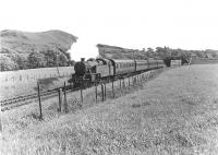 Fairburn 2-6-4T 42191 leaving West Kilbride on 24 May 1960 at the head of a Glasgow - Largs service. [Ref query 9666]<br><br>[G H Robin collection by courtesy of the Mitchell Library, Glasgow&nbsp;24/05/1960]