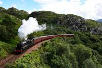 Black 5 No.45407 puts in some effort on the climb out of Lochailort with<br> the morning * Jacobite * for Mallaig.<br><br>[John Gray&nbsp;01/08/2016]