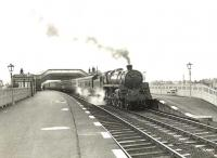 An Ayr - Glasgow train arriving at Troon on 28 March 1955 behind BR Standard class 5 4-6-0 73055.<br><br>[G H Robin collection by courtesy of the Mitchell Library, Glasgow&nbsp;28/03/1955]