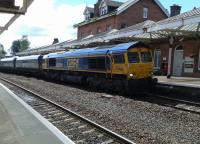 A rail movement, hauled by 66744, from Tyne coal terminal to Hunterston passing through Dumfries on 27th July 2016. <br><br>[Brian Smith&nbsp;27/07/2016]