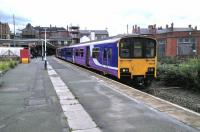 A Southport service calls at Wigan Wallgate on 30 June 2016. A 150 on one end and a Pacer on the other seems to be standard fare on this line.<br><br>[David Panton&nbsp;30/06/2016]