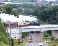 46100 <I>Royal Scot</I> crossing Hardengreen Viaduct on 14 August 2016 with the first of the two Sunday morning runs of the ScotRail 'Borders Line Steam Special' heading for Tweedbank.<br><br>[John Furnevel&nbsp;14/08/2016]