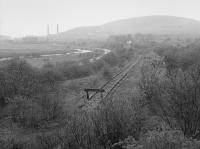 End of the Dalmellington branch, looking north to Waterside.  The Chalmerston branch was to be re-established to the right of the camera.<br><br>[Bill Roberton&nbsp;//1988]