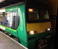 Green liveried 320416 at Anderston station on Friday 5th August 2016.<br><br>[Veronica Clibbery&nbsp;05/08/2016]