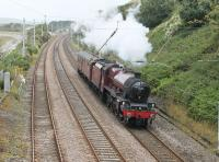 45699 <I>Galatea</I> setting out on an engine and coach movement from Carnforth to Southall on 8th August 2016, prior to working <I>The Dorset Coast Express</I> from London to Weymouth. The LMS Jubilee appears to have been fourth choice for a special previously listed for haulage by 34067, 35018 and 70013.  <br><br>[Mark Bartlett&nbsp;08/08/2016]