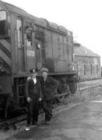 Posing alongside D3728 at Kelso in the 1960s. The gentleman with the hairstyle is Tommy Oliver, erstwhile agent at Kelso, later to feature in <I>'The Great Escape'</I> [see image 17963].  <br><br>[Dougie Squance (Courtesy Bruce McCartney)&nbsp;//]