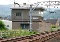 The former Dumbarton Central signal box looking east from the station in July 2005. Although not used for signalling purposes since the late 1980s the large structure on Bankend Road still sees use by Network Rail staff from time to time.<br><br>[John Furnevel&nbsp;27/07/2005]