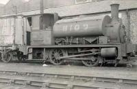 Ex-NB class Y9 0-4-0ST 8109, photographed in the shed yard at Eastfield in September 1949. Built by Neilson in 1891, the veteran was eventually withdrawn from here as 68109 in April 1954, following which it was cut up at nearby Cowlairs Works.<br><br>[G H Robin collection by courtesy of the Mitchell Library, Glasgow&nbsp;03/09/1949]