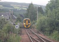 The morning ECS working from Perth to Blair Atholl approaches Pitlochry on 19th July 2016. On my previous visit this train ran with six coaches [See image 46972] but on this occasion was just two-car unit 158735. <br><br>[Mark Bartlett&nbsp;19/07/2016]