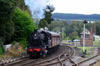 Ivatt Class 2 No.46512 departs Boat of Garten with the last train of the day to Aviemore. The engine is hauling six coaches instead of the usual five.<br> <br> <br><br>[John Gray&nbsp;23/08/2016]