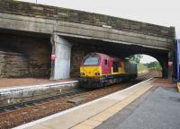 67008, running light engine from Mossend to Millerhill, passes under Station Road bridge on the last day of August 2016. Work to replace the bridge has now started, with the road due to close in September for 11 months. <br><br>[Colin McDonald&nbsp;31/08/2016]