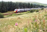 Scene just to the south of Elvanfoot on 27 July 2016 as the 0739 London Euston - Glasgow Central via Birmingham hurries past on the 73 minute last leg from Carlisle to Glasgow.<br> <br><br>[John Furnevel&nbsp;27/07/2016]