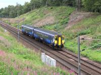 ScotRail 156442 has just passed the site of the former Carnwath station on the approach to Carstairs East Junction on 31 August 2016. The train is 1D53, the 1019 Edinburgh Waverley - Glasgow Central. [Ref query 16442] <br><br>[John Furnevel&nbsp;31/08/2016]